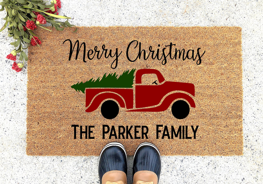 Merry Christmas Red Truck with Tree and Family Name