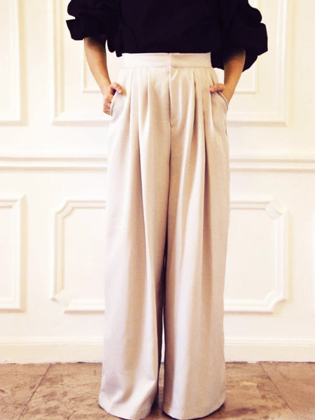 Morgan beige wide leg pants