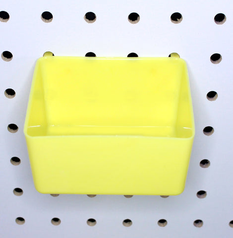 PegBoard Bin YELLOW Bins Hooks to Peg Tool Board -Craft Pegboard Workbench Red