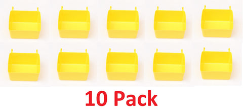 PEG BOARD Yellow Plastic Part Bins Hooks to Peg Tool Board - Workbench Pegboard Holder 10 PACK