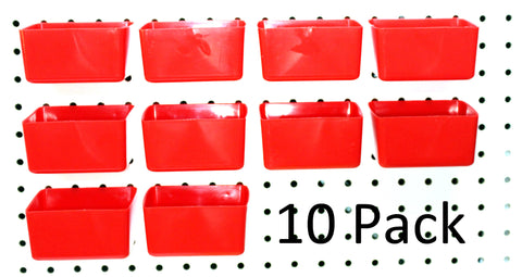 PEG BOARD RED Plastic Part Bins Hooks to Peg Tool Board - Workbench Pegboard Holder 10 PACK
