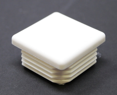 Plastic 1-1/2 inch White Square Tubing Cap, Finishing Plug, Pipe Tubing End Cap, Durable Chair Glide Universal