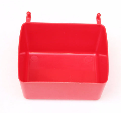 PegBoard Bin RED BINS Hooks to Peg Tool Board -Craft Pegboard Workbench Red