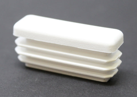 Plastic 1/2 x 1-1/2 inch White Rectangle Tubing Cap, Finishing Plug, Pipe Tubing End Cap, Durable Chair Glide Universal