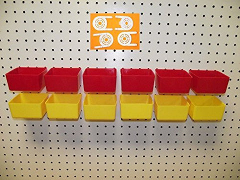 "16 PACK 1/4"" HOLE Peg Board Workbench Bins (6) Red & (6) Yellow bins Plus (4) Tool holders FITS WOODEN PEGBOARDS"