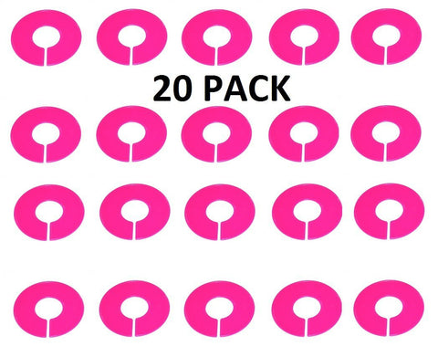 Pink Round Plastic Blank Rack Size Dividers - 20 Pack