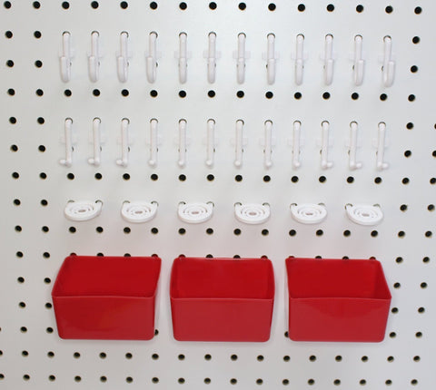 Peg Hook Kit 34 Piece 12 J Hooks & 12 L Hook & 6 Tool Holders & 04 Small Plastic Bins -Free Shipping Peg Board Storage System