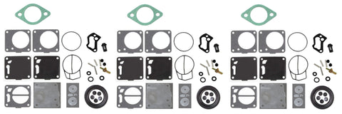 Aftermarket Mikuni Triple Carb Carburetor Rebuild Kit with Base Gaskets replaces Polaris 3240128 Seadoo, Kawasaki 11009-3786 WSM # 007-494 SL SLT SLX 650 750 780 slt
