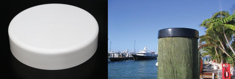 "Flat Black or White Cap From 7"" to 12"" Piling Marine Dock Boat Pylon Post Head Flat Cover"