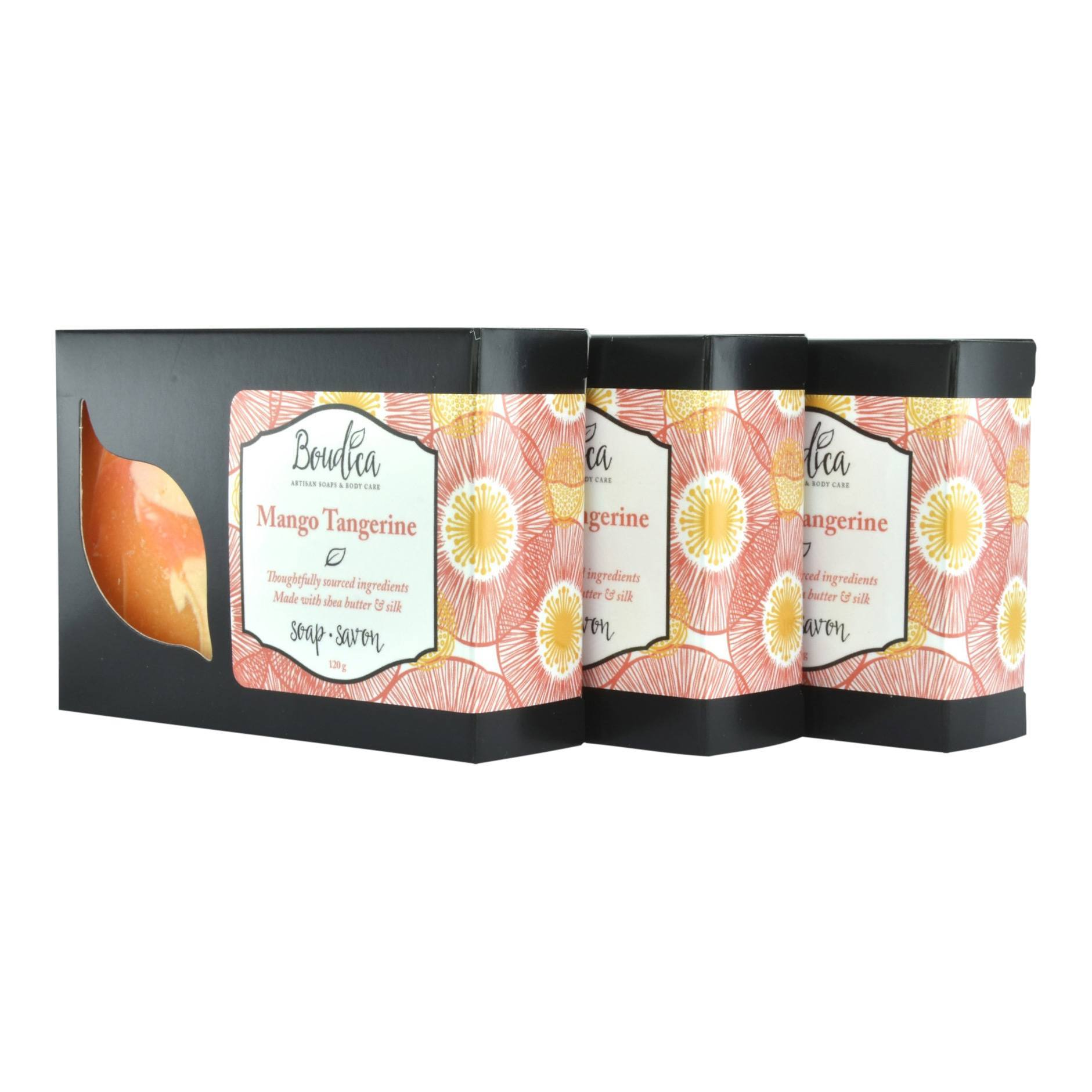 Mango Tangerine soap, gift packaging - Boudica Body Care
