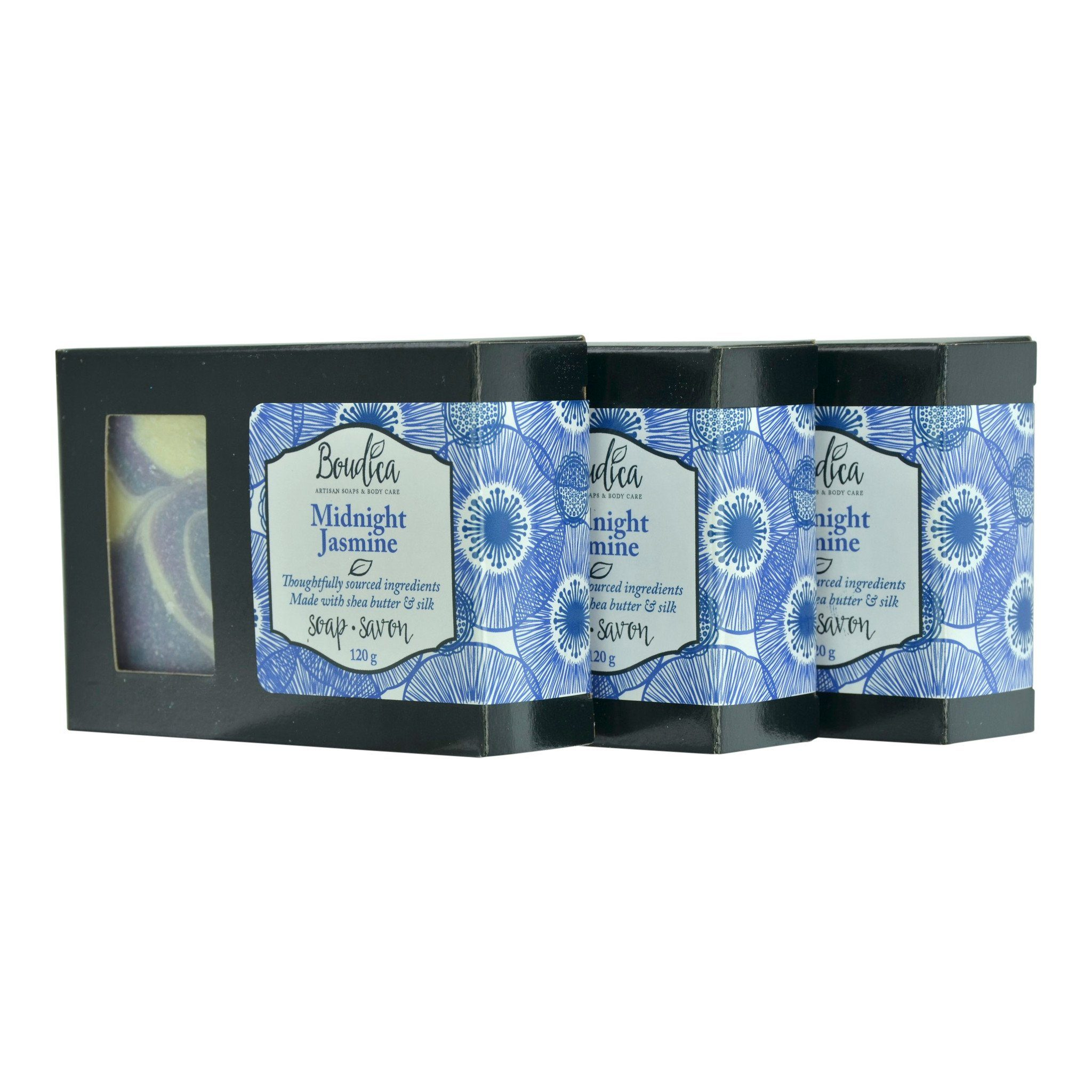 Midnight Jasmine soap, gift packaging - Boudica Body Care