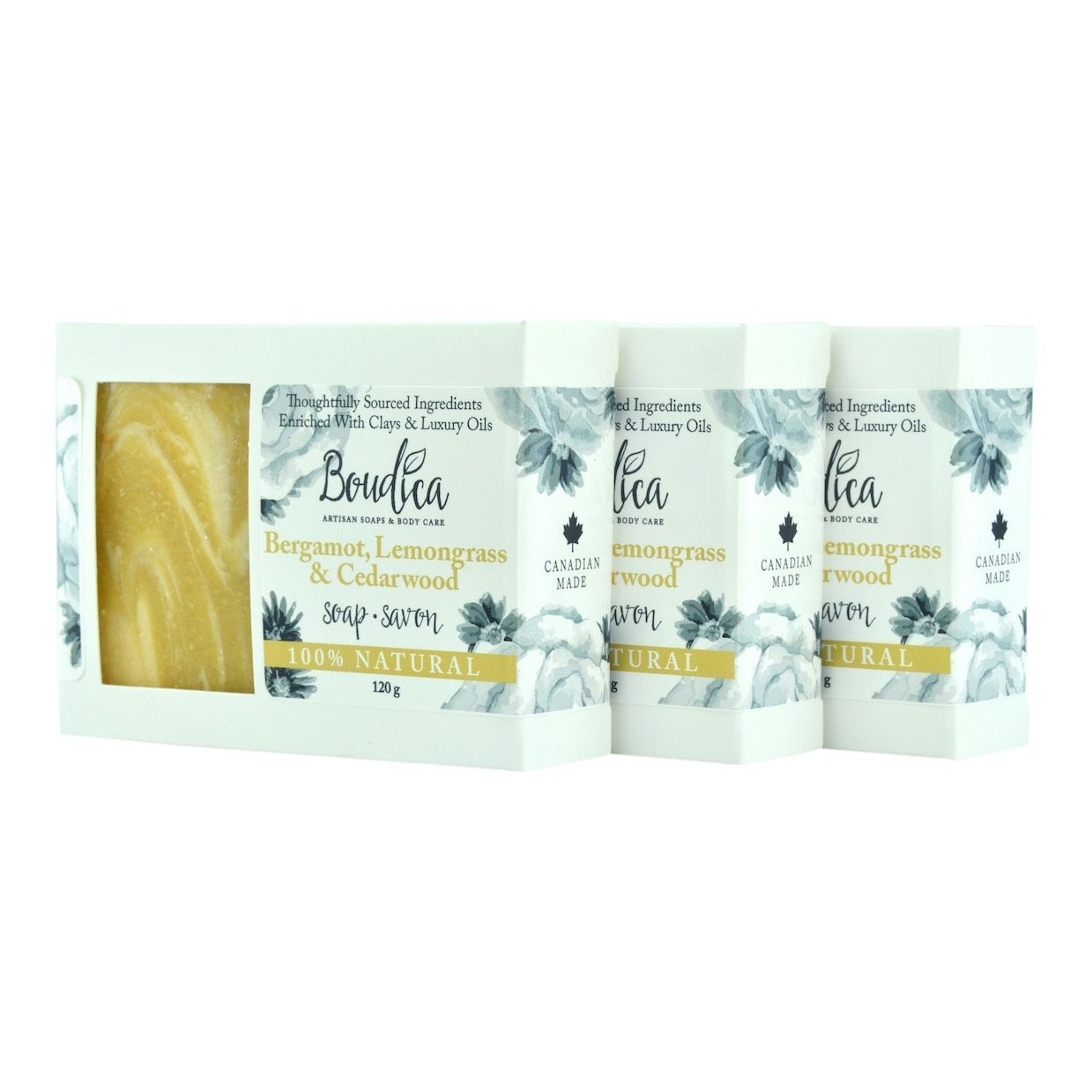 Bergamot, Lemongrass & Cedarwood soap, gift packaging - Boudica Body Care