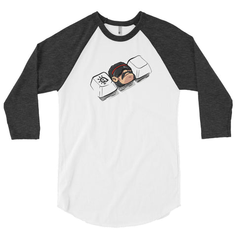 Step Dad on the keys - 3/4 sleeve raglan shirt