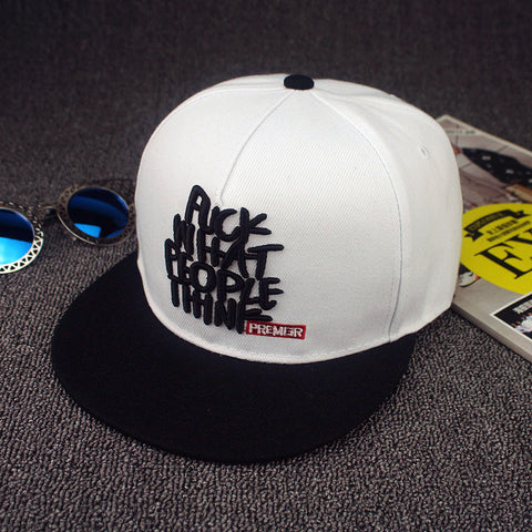 fuck what people think white 3D Snapback