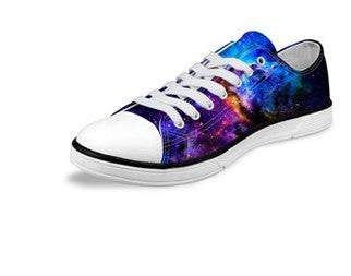 Women's Blue Fashion Galaxy Star Canvas Shoes
