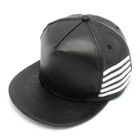 Black Leather Snapback