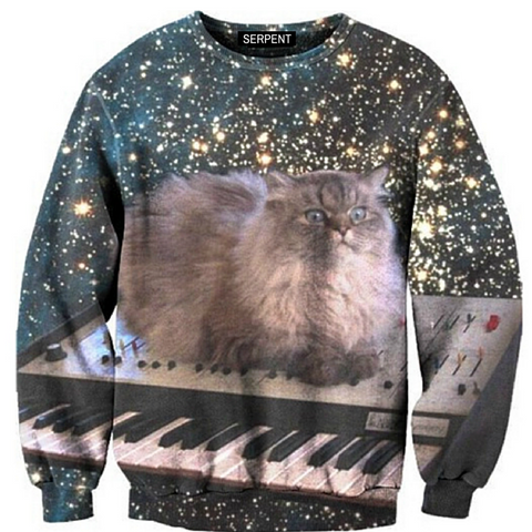 Cat Loves Piano Sweatshirt