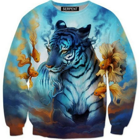 Tiger and Fish 3D Sweatshirt