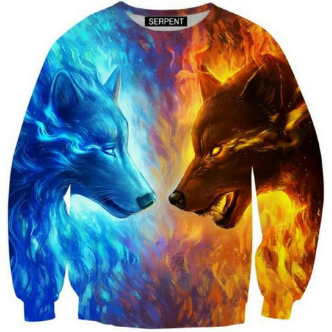 Wolf Ice and Fire 3D Sweatshirt