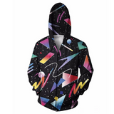 80's Galaxy Shapes Hoodie Jacket