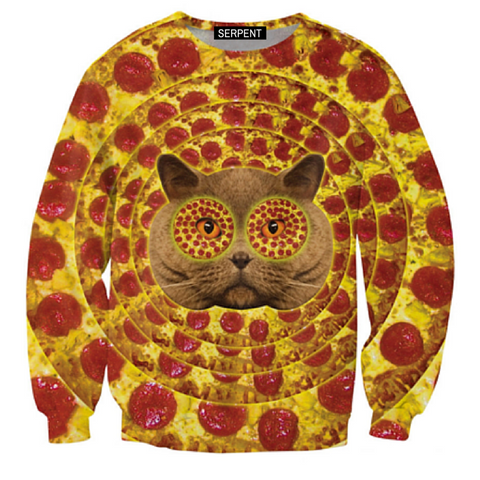 Pizza Face Cat Sweatshirt