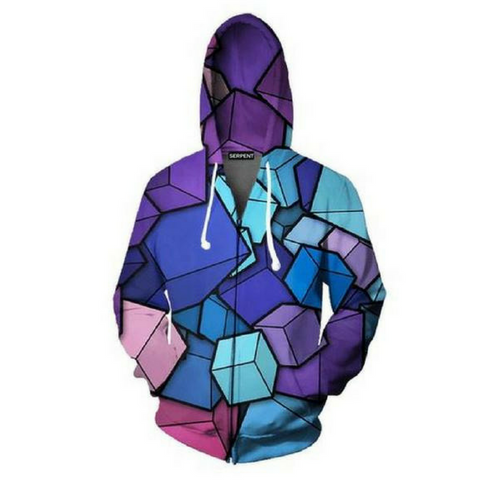 3D Cube Boxes Hooded Jacket