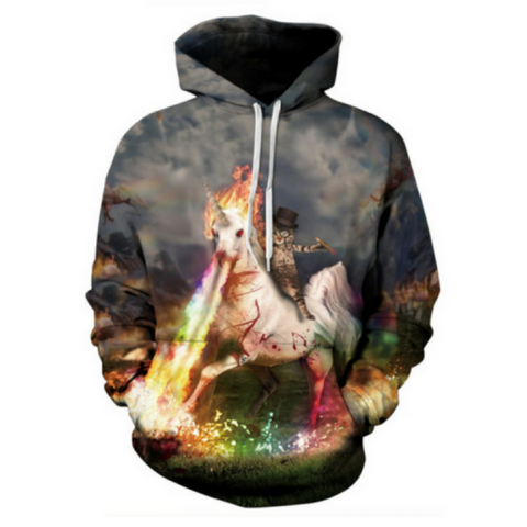 Fire Unicorn and Cat Hoodie