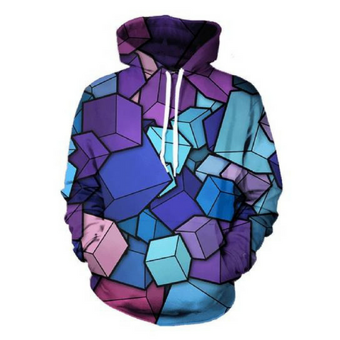 3D Cube Boxes Hoodie