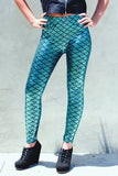 Torquoise Blue Dragon Scale Printed Leggings