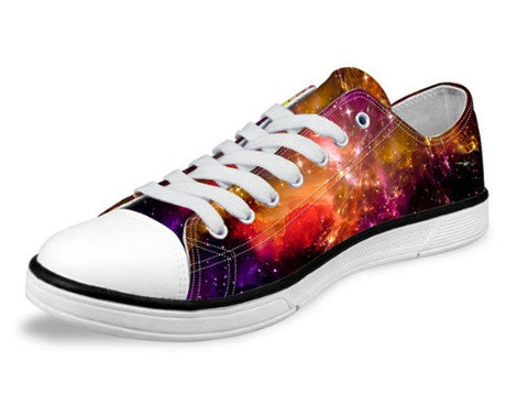 Women's Orange Pink Fashion Galaxy Star Canvas Shoes