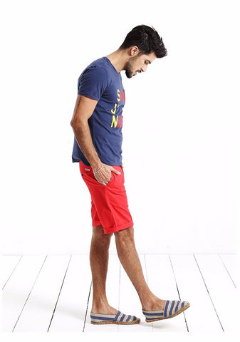 Slim Fit Short Red Pants