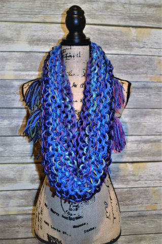 Hand Knit Cowl With Fringe- Blue, Purple