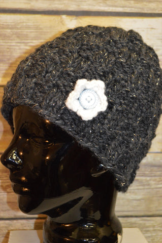 Hand Knit Hat- Charcoal- Women's