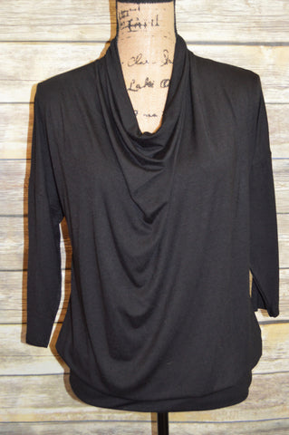 Black Cowl Neck Blouse