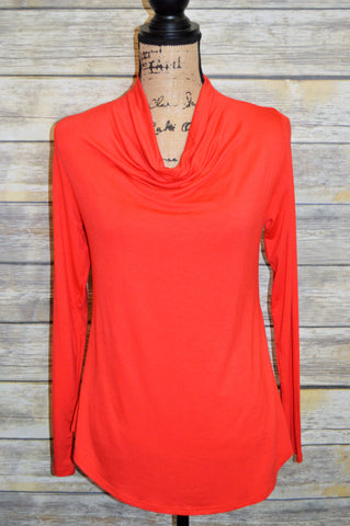 Red Cowl Neck Blouse