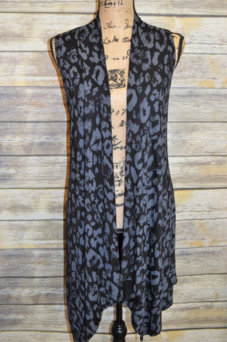 *SALE* Black/Gray Sleeveless Cardigan