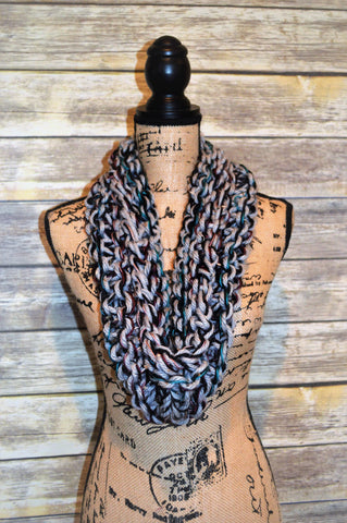 Hand Knit Cowl- Gray/Teal