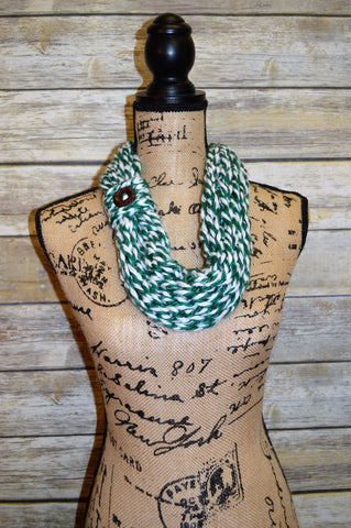 Hand Knit Cowl- Green- White