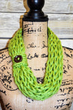 Hand Knit Cowl- Lime Green