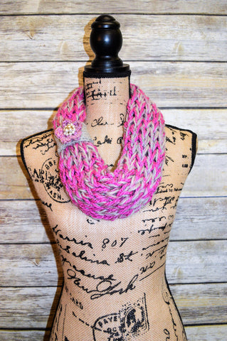 Hand Knit Cowl- Pink- Gray