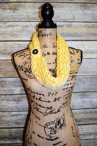 Hand Knit Cowl- Yellow