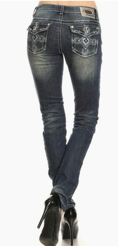 Dark Wash Mid Rise Skinny Jean- Regular