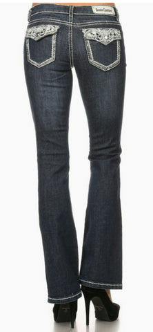 Dark Wash Mid Rise Boot Cut Jeans- Regular