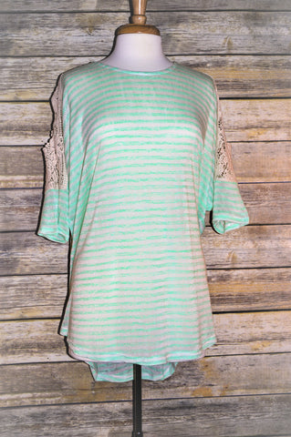 Made in USA Plus Green Cold Shoulder Tunic