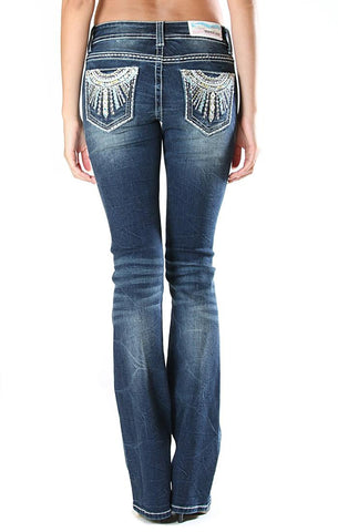 Medium Wash Mid Rise Boot Cut Jeans Regular- Grace Easy Fit