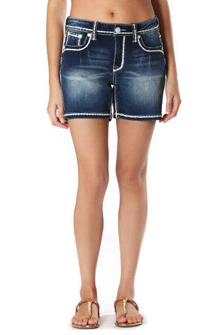 Medium Wash Mid Rise Shorts- Grace Easy Fit