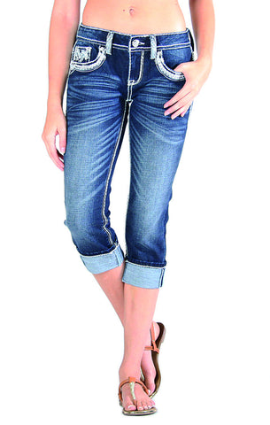 Medium Wash Mid Rise Capri- Grace Easy Fit