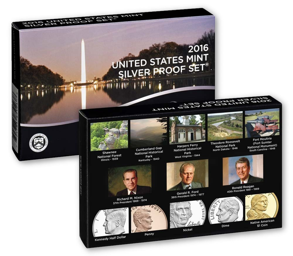 2016 S Proof Set 13 coin Silver Proof Set OGP box & COA Proof Mint State