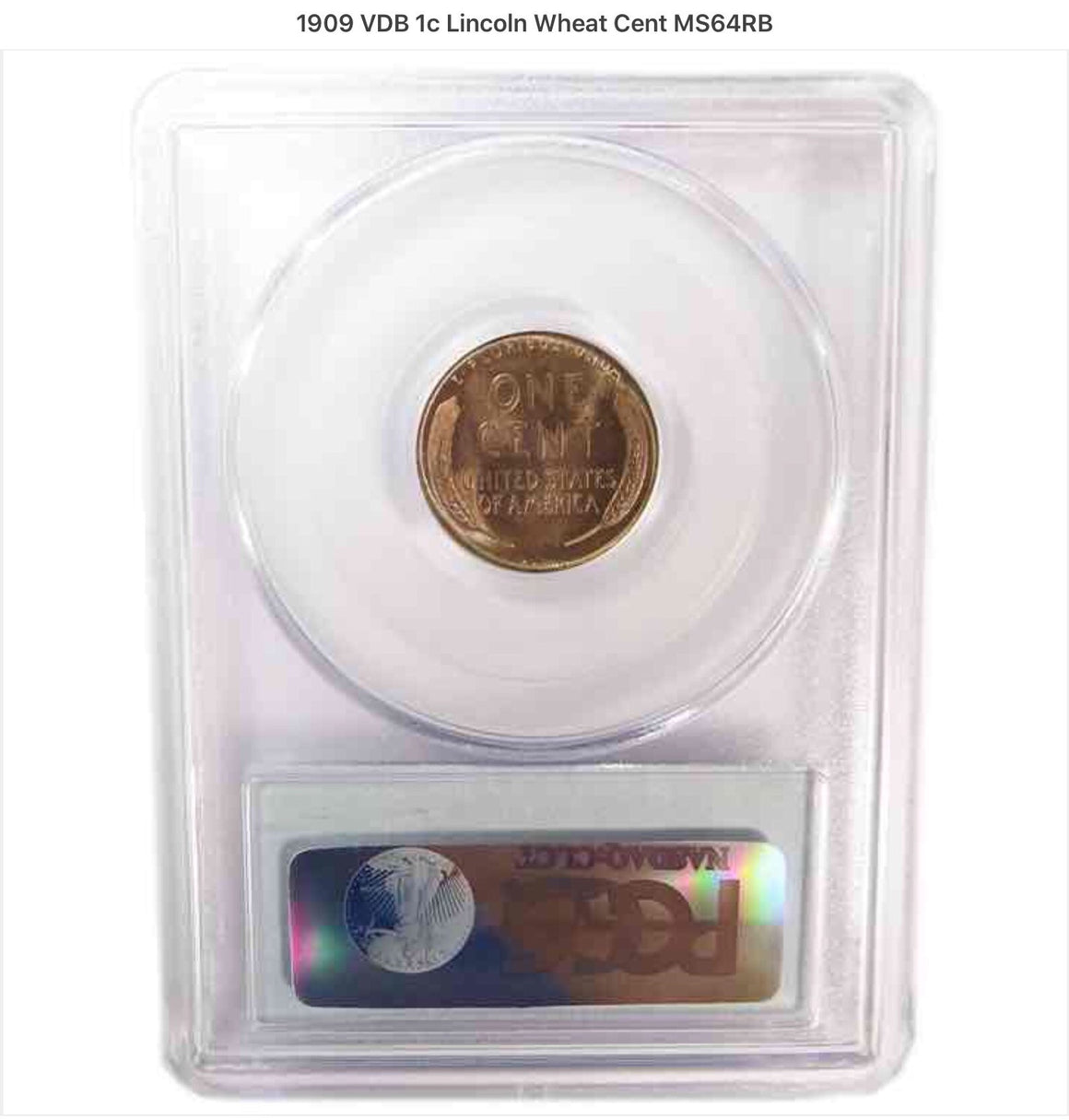 1909 VDB 1c Lincoln Wheat Cent Penny PCGS MS64 RB