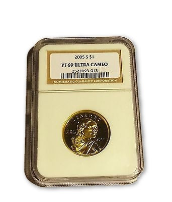2005 S $1 Native American (Sacagwea) NGC PF 69 Brown Label